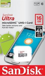 Picture of SANDISK ULTRA MIRCO SD MEMORY CARD -16GB [48MB]